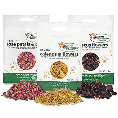 Exotic Nutrition Flower Treat 3 Pack - Healthy Assortment - Hibiscus, Calendula, Rose - for Squirrels, Guinea Pigs, Rabbits, Chinchillas, Prairie Dogs, Degus, Hamster, Gerbils, Other Herbivores