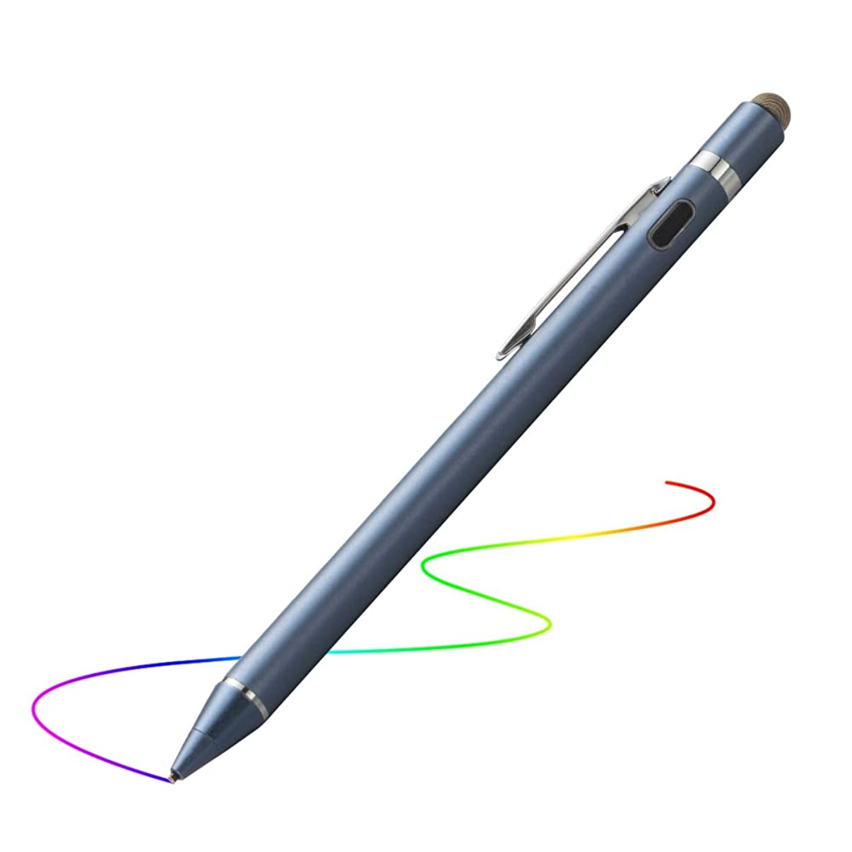 Active Stylus for iPad, Evach Capacitive Rechargeable Pen with 1.5mm Ultra Fine Tip, Touchscreen Pencil Control-Like for Apple Pen and iPhone Stylus,Samsung Pen for Tablets (Dark Blue)