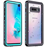 Redpepper Galaxy S10 Plus Waterproof Case, Protective Clear Cover with Built-in Screen Protector, Support Wireless Charging IP68 Waterproof Shockproof Case for Samsung Galaxy S10 Plus (Teal/Clear)