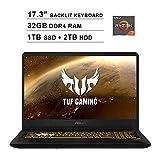 2020 ASUS TUF 17.3 Inch FHD 1080p Gaming Laptop (AMD Ryzen 7 3750H up to 4.0 GHz, 32GB DDR4 RAM, 1TB SSD (Boot) + 2TB HDD, GeForce GTX 1650 4GB, Backlit KB, WiFi, Bluetooth, HDMI, Windows 10)