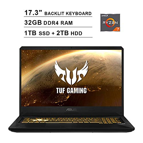 2020 ASUS TUF 17.3 Inch FHD 1080p Gaming Laptop (AMD Ryzen 7 3750H up to 4.0 GHz, 32GB DDR4 RAM, 1TB SSD (Boot) + 2TB HDD, GeForce GTX 1650 4GB, Backlit KB, WiFi, Bluetooth, HDMI, Windows 10)