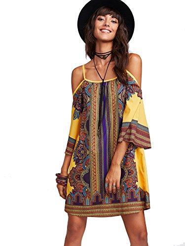 Milumia Women's Tribal Print Kimono Sleeve Geometric Tunic Boho Dress Medium Yellow-3