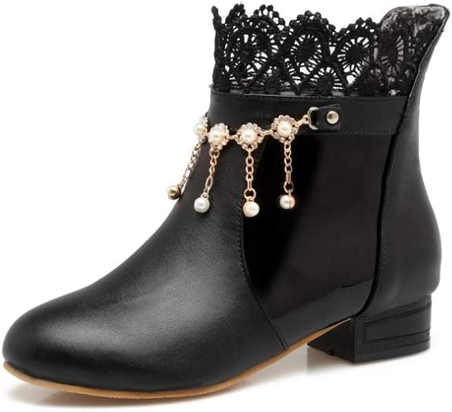 Woman's Short Boots Pearl Decorative Boots
