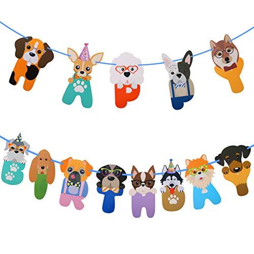 Yuehuam Hundeparty Banner Geburtstagsfeier Dekoration Banner Lustige Fotografische Hundegesicht Geburtstag Banner Welpen Thema Party Hängende Dekoration Hundekopf Bedruckte Karte 6. 5 X