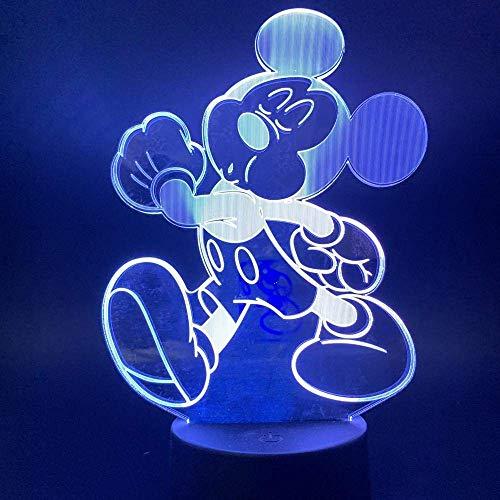 3D lumière de nuit pour enfants Mickey Mouse Mickey Led Illusion Light Mood Light 7 couleur tactile télécommande USB lampe de table lampe de chevet pour enfants cadeau d'anniversaire de Noël
