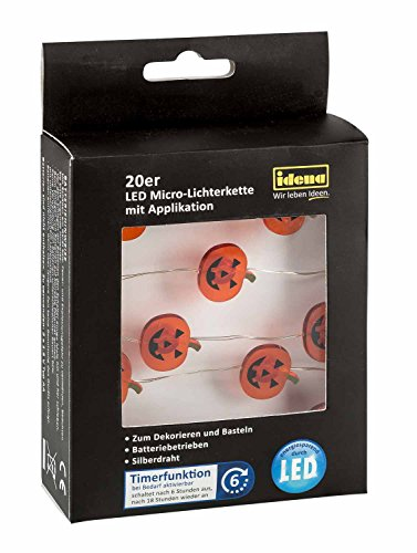 Idena 31832 - LED Lichterkette mit 20 LED in Smiley Kürbisform, mit 6 Stunden Timer Funktion, Batterie betrieben, für Partys, Herbst, Deko, Halloween, als Stimmungslicht, ca. 1,25 m