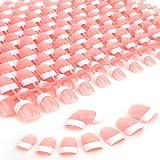 MWOOT Uñas de Manicura Francesa, 240 Unidades Uñas Postizas, Uñas Artificiales para Uñas Diseños Accesorios - S French Fake Nail
