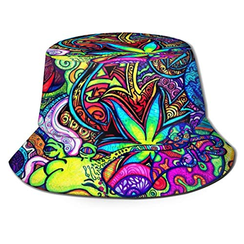 Holuday Trippy Marijuana Leaf Weed Bucket Hats Wide Brim Outdoor Summer Cap Hiking, Beach
