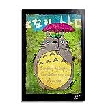Mi Vecino Totoro, Hayao Miyazaki del Studio Ghibli - Pintura Enmarcado Original, Imagen Pop-Art, Impresión Póster, Impresion en Lienzo, Cuadro, Cómics, Cartel de la Película, Anime, Manga