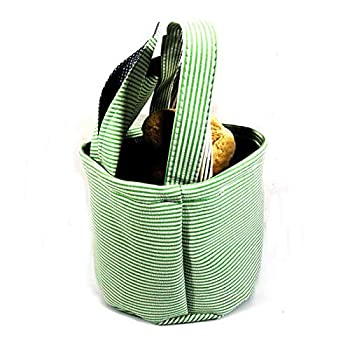 Easter Basket Seersucker Retro Rabbit Ear Stripe Printed Portable Cylinder Storage Bags for Eggs,Candy,Gifts  Green