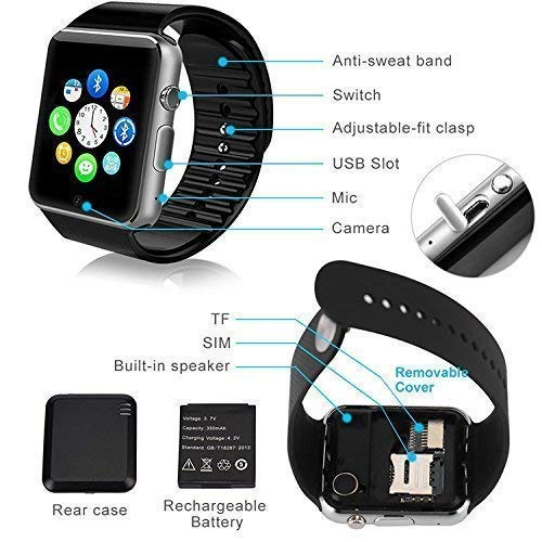 SM Android Smart Watch Bluetooth Smartwatch Compatible with All Mobile Phones for Boys and Girls – Black