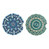 two mosaic car coasters, one blue, one green