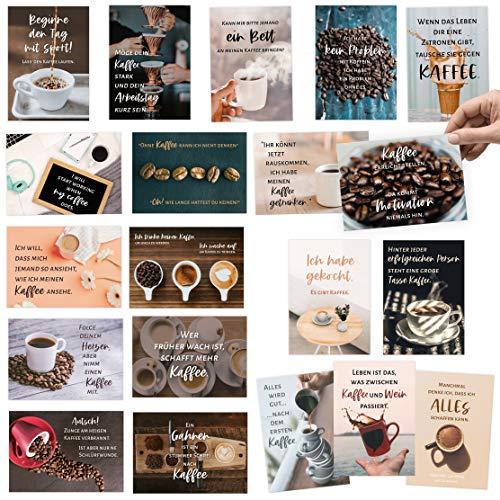 20 Postkarten Set zum Thema Kaffe - mit lustigen Sprüchen für Kaffeliebhaber - zum Versüßen im Büro oder Homeoffice und für einem guten Start in den Tag