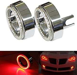 iJDMTOY (2) Brilliant Red 40-SMD LED Angel Eyes Halo Rings w/Chrome Shrouds For Fog Lights Custom Retrofit DIY Use