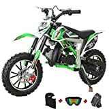 X-PRO Bolt 50cc Dirt Bike Gas Dirt Bike Kids Dirt Bikes Pit Bikes Youth Dirt Pitbike with Gloves, Goggle and Handgrip,Green