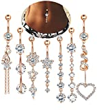 LOLIAS 7 Pcs 14G Dangle Belly Button Rings for Women Girls 316L Surgical Steel Curved Navel Barbell Body Jewelry Piercing,RG