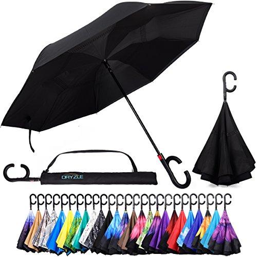 auto-open Rückseite Faltbarer Regenschirm für Regen, Sonne & Auto von dryzle–doppelt gelegter UV Regenschirme für Frauen und Männer, C Haken Griff für Golf und Sport, schwarz