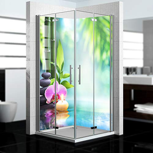 dedeco Eck-Duschrückwand wasserfest mit Zen V4 Motiv - 2 x 90x200 cm, als Badrückwand zum Fliesenersatz, als Dekorwand, Wandverkleidung und Duschplatte aus hochwertigem Aluminium - Made in Germany