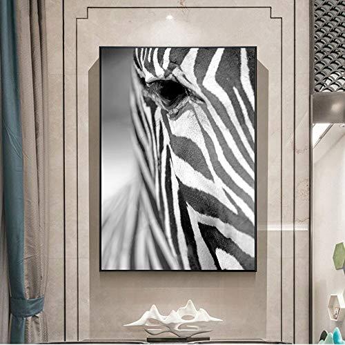 Wenqike Moderno Negro Blanco Animales Lienzo Pintura Arte de la Pared Carteles de Cebra e impresión de imágenes de Pared para la decoración de la Sala de Estar del hogar 30x40cm