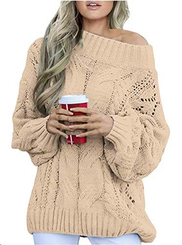 Dokotoo Damen Off Shoulder Langarm Strickpullover Outwear Casual Elegant Oversize Winterpullover Frühling Pullover Khaki XL