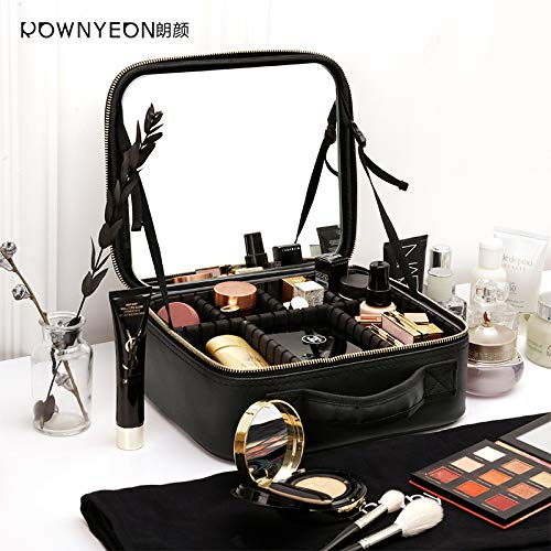 Rownyeon Makeup Train Case with Mirror Portable 10inch Cosmetic Organizer Professional Makeup Bag with