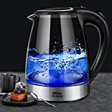 Electric Kettle 1.8L, Cordless BPA-Free Glass Kettle, Hot Water Teapot, Fast Heating Electric Tea Kettle Coffee Server with LED Light, Fast Boiler, Auto Shut-Off and Boil-Dry Protection