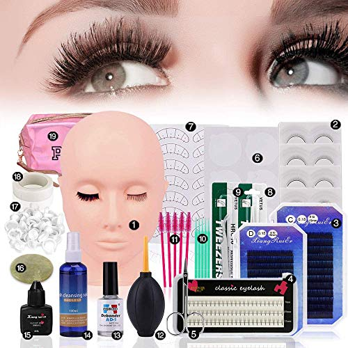 Kits de extensión de pestañas de injerto, 19 Pcs práctica profesional de maquillaje de pegamento de pestañas postizas Cabeza de maniquí de injerto de pestañas, kit de inicio de extensión de pe