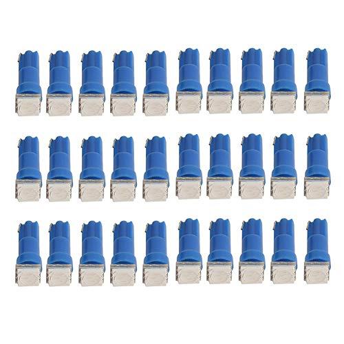 ZALAGA Paquete de 30 T5 1-5050-SMD LáMpara de Instrumento LED de Reacondicionamiento de AutomóVil/Motocicleta, Luz Indicadora, LáMpara de Panel de Instrumentos (Azul)