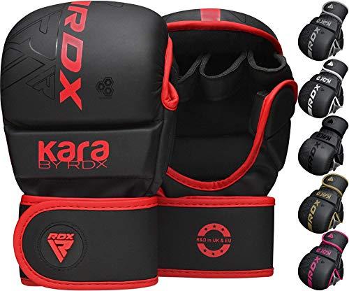 RDX Guanti MMA per Arti Marziali Grappling Allenamento, Maya Hide Cuoio Kara Sparring Guantoni per Kickboxing, Muay Thai, Combattimento in Gabbia, Sacchi Pugilato, Sacco da Boxe