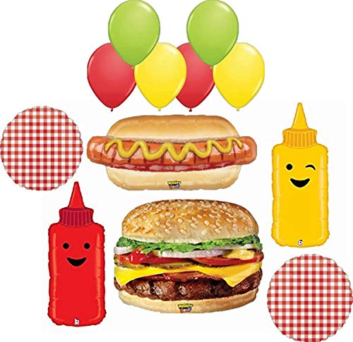 BBQ Picnic Cookout Party Supplies 12 pc Realistic Hamburger Hot Dog plus Ketchup and Mustard Foil Balloon Bouquet Decorations
