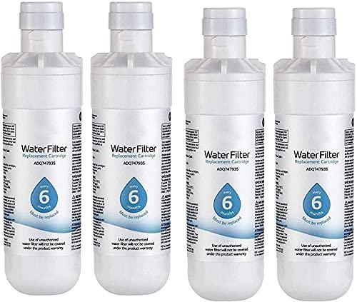 Filtro De Agua Para Refrigerador, 200 Galones De Capacidad Filtro De Agua Para Refrigerador De Repuesto, Purificador De Agua Doméstico, Compatible Con LT1000P, MDJ64844601, ADQ747935 ADQ74793504,4pack