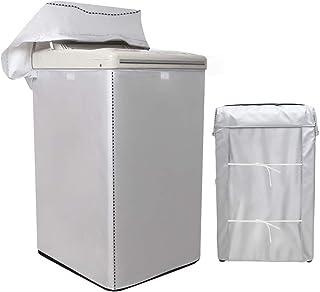 [Mr.You]洗濯機カバー 【デザイン改良】 4面包みデザイン シルバー 防水 防日焼け【L】8-10KGに対応 (58*60*92cm)