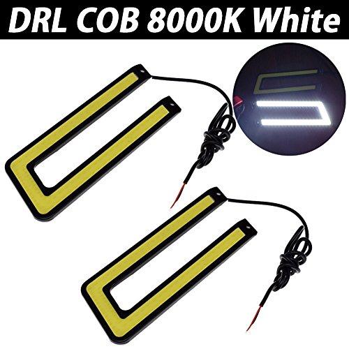 TABEN Juego de 2 luces LED en forma de U para coche, COB DRL, 12 V CC, carcasa negra, luz blanca de día