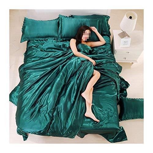 Ropa de cama Ropa de cama de satén de seda de color puro, grupo de cama grande de materia textil, ropa de cama, cubierta, paquete de almohada forros de cama ( Color : Green , Size : 3pcs No sheets )
