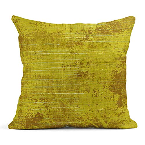 gatetop Throw Pillow Cover Print Linen carré 18x18 Pouces caché Fermeture à glissière coloré Moutarde Jaune Bois et Peinture Abstrait Orange taie d'oreiller Vierge Un côté Design Home Sofa décor