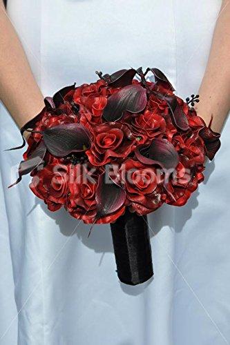 Rojo oscuro color de rosa y negro suite gótica Vela ramo de la boda