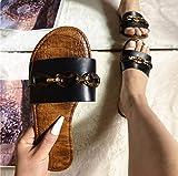 Hwcpadkj Mujeres Sandalias Planas Sandalias Zapatos Mujeres Peep Toe Cinturón Deslizante de Superficie entrelazada de Playa Liviana y de tacón Plano,Negro,42