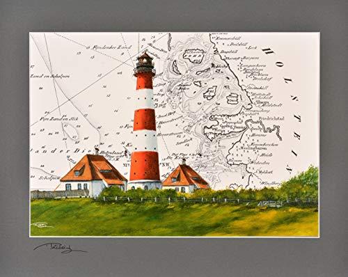 Kunstdruck Leuchtturm Westerheversand mit original signiertem Passepartout Fotograu von Thomas Kubitz