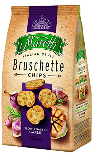 Maretti Bruschette Chips - Slow Roasted Garlic - Brotchips mit geröstetem Knoblauch - Bruschetta Chips, 150 g
