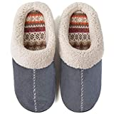 ULTRAIDEAS Women's Comfort Memory Foam Slippers with Warm Fleece Lining and Wool-Like Collar, Casual Micro Suede Slip on House Shoes with Indoor Outdoor Anti-Skid Hard Rubber Sole (Grey, 7-8)