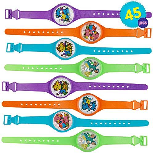 45pcs Kinder Uhr Jungenuhr Mädchenuhr Kunststoff Schul Uhr Jungen Mädchen - ideales Innenspielzeug für Kinder - Armbanduhr Geduldspiel Kindergeburtstags - Halloween Gastgeschenke Spielzeug