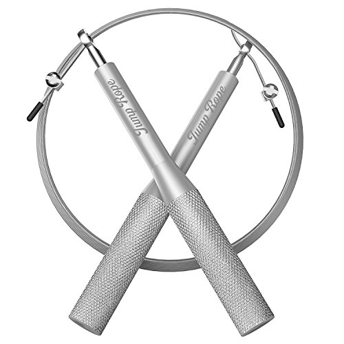 Springseil 3 METER mit Aluminiumgriff einstellbar / Premium Qualität Springseil mit Ersatzkabel für MMA Training, Bodybuilding, Boxen, Cardio-Übungen, Personal Training Equipment (Silber)