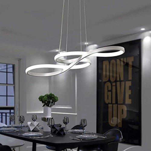 LED Pendelleuchte, 58W Pendelleuchte Dimmbar Warmweiß Neutral | Cool White Acryl Deckenleuchte Deckenleuchte mit Fernbedienung für Esstisch Wohnzimmer Lampe für abgehängte Deckenleuchte (weiß)
