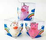 Juego de 3 patitos de goma con diseño de unicornio, animales de baño, 3 colores