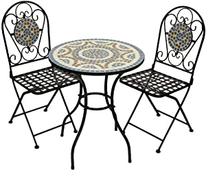 Woodside Blue Mosaic Garden Table And Folding Chair Set Outdoor Dining Furniture by Woodside