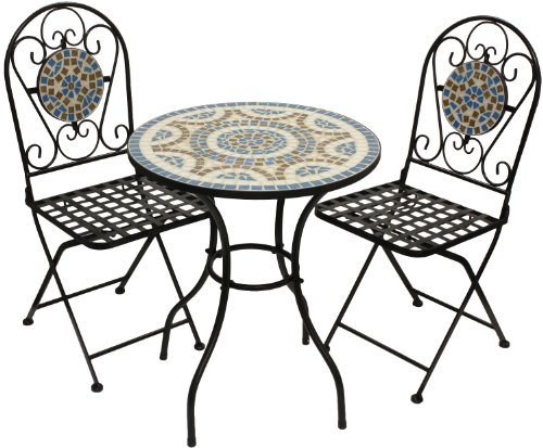Woodside Blue Mosaic Garden Table And Folding Chair Set Outdoor Dining Furniture