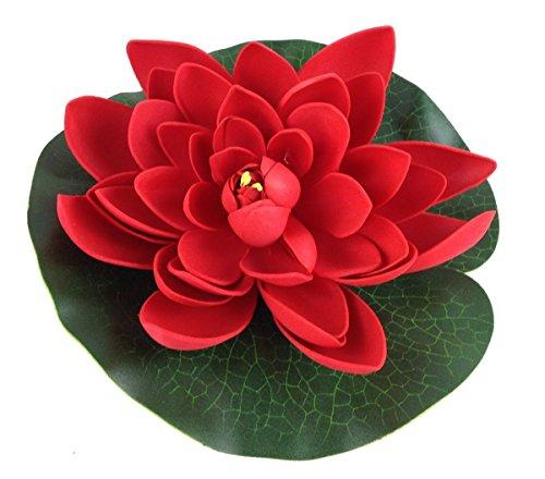 Unbekannt Wasserlilie Schwimmend Lotusblüte Lotusblume Seerose 17 cm groß künstliche Blumen sehr original wie echt Deko Teichrose (rot)