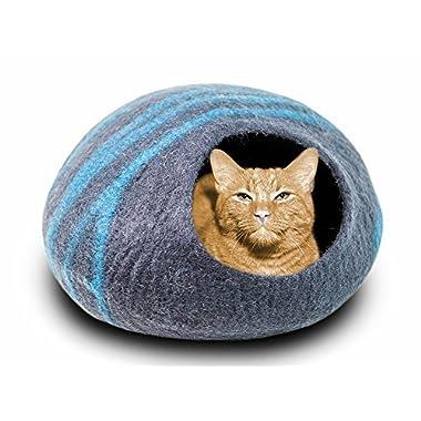 MEOWFIA Premium Felt Cat Bed Cave (Medium) - Handmade 100% Merino Wool Bed for Cats and Kittens (Black/Aqua/Medium)
