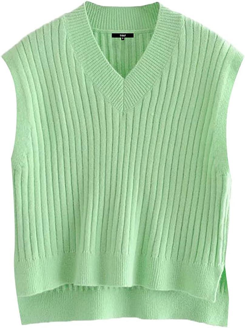 Women Asymmetric Knitted Vest Sweater Vintage V Neck Sleeveless Waistcoat Chic Tops