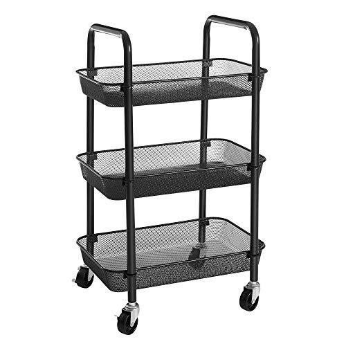 SONGMICS Rolling Cart, 3-Tier Metal Storage Cart, Kitchen Storage Trolley...